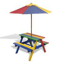 vidaXL Детска пикник маса с пейки и чадър, многоцветна, дърво