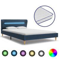 vidaXL Легло с LED и матрак от мемори пяна, синьо, плат, 120x200 см