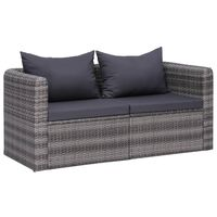 vidaXL 2 бр градински ъглови дивана, сиви, полиратан