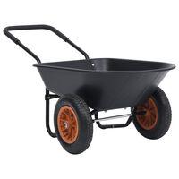 vidaXL Ръчна количка, черно и оранжево, 78 л, 100 кг