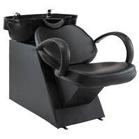 vidaXL Измивна колона за фризьорски салон, черна, изкуствена кожа