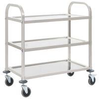 vidaXL Кухненска количка с 3 рафта, 87x45x83,5 см, неръждаема стомана