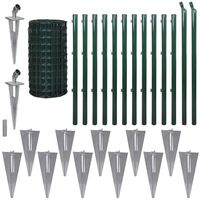 vidaXL Евромрежа, стомана, 25x0,8 м, зелена
