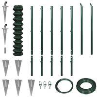 vidaXL Плетена оградна мрежа с анкерни клинове, 1,97x15 м, зелена