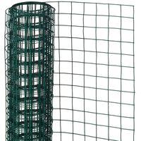 Nature Телена мрежа квадрат 0,5x2,5 м 13 мм стомана с пластмаса зелена