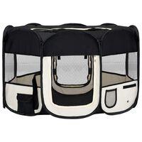 vidaXL Сгъваема кучешка кошара с чанта за носене, черна, 125x125x61 см