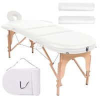 vidaXL Сгъваема масажна маса, 4 см пълнеж, 2 овални болстера, бяла