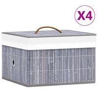 vidaXL Бамбукови кутии за съхранение 4 бр сиви