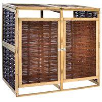 vidaXL Двоен навес за кофи за смет, борова дървесина и ракита
