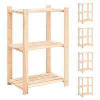 vidaXL 3-етажни стелажи, 5 бр, 60x38x90 см, бор масив, 150 кг