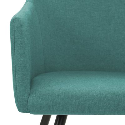 vidaXL Трапезни столове, 6 бр, зелени, текстил