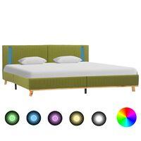 vidaXL Рамка за легло с LED, зелена, текстил, 180x200 см