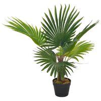 vidaXL Изкуствено растение палма със саксия, зелено, 70 см