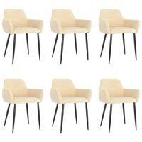 vidaXL Трапезни столове, 6 бр, кремави, кадифе