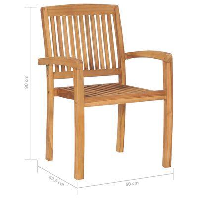 vidaXL Стифиращи градински столове с възглавници 4 бр тик масив
