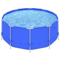 vidaXL Басейн със стоманена рамка, 367x122 см, син