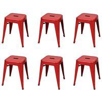 vidaXL Стифиращи табуретки, 6 бр, червени, стомана