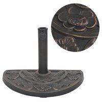 vidaXL Основа за чадър, смола, полукръгла, бронз, 9 кг