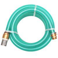 vidaXL Смукателен маркуч с месингови съединители, 7 м, 25 мм, зелен