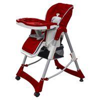 vidaXL vidaXL Бебешки стол за хранене, червен, регулируема височина