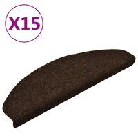 vidaXL Самозалепващи стелки за стъпала, 15 бр, кафяви, 65x21x4 см
