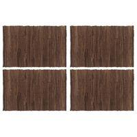vidaXL Подложки за хранене, 4 бр, Chindi, кафяви, 30x45 см, памук