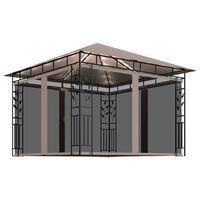 vidaXL Шатра с мрежа против комари, LED, 3x3x2,73 м, таупе, 180 г/м²