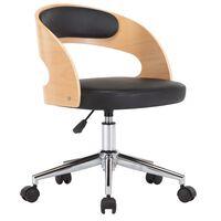 vidaXL Въртящ офис стол, черен, извито дърво и изкуствена кожа