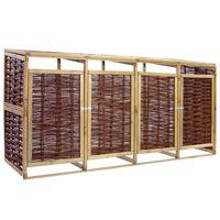 vidaXL Четворен навес за кофи за смет, борова дървесина и ракита