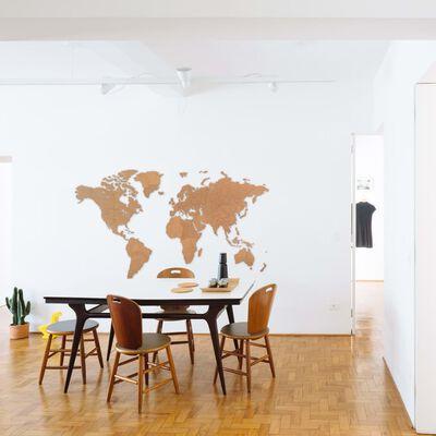 MiMi Innovations Карта на света стенна дърво Giant кафява 280x170 см