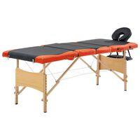 vidaXL Сгъваема масажна кушетка, 4 зони, дърво, черно и оранжево