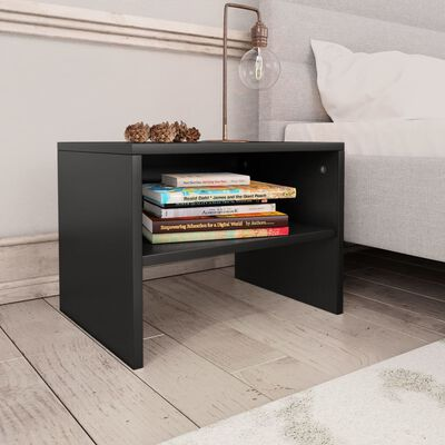 vidaXL Нощни шкафчета, 2 бр, черни, 40x30x30 см, ПДЧ