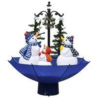 vidaXL Коледна елха с валящ сняг и основа от чадър, синя, 75 см, PVC