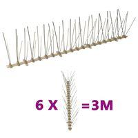 vidaXL 5-редови пластмасови шипове срещу птици и гълъби, 6 бр, 3 м