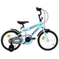 vidaXL Детски велосипед, 16 цола, черно и синьо