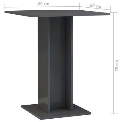 vidaXL Бистро маса, сив гланц, 60x60x75 см, ПДЧ