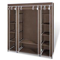 vidaXL Текстилен гардероб с отделения и летви, 45 x 150 x176 см, кафяв