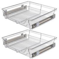 vidaXL Плъзгащи се телени кошници, 2 бр, сребристи, 600 мм