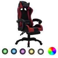 vidaXL Геймърски стол RGB LED виненочервено/черно изкуствена кожа