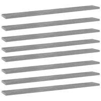 vidaXL Рафтове за етажерка, 8 бр, бетонно сиви, 80x10x1,5 см, ПДЧ