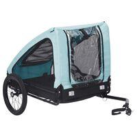 vidaXL Ремарке за домашен любимец за велосипед, синьо и черно