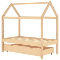vidaXL Рамка за детско легло с чекмедже, бор масив, 70x140 см