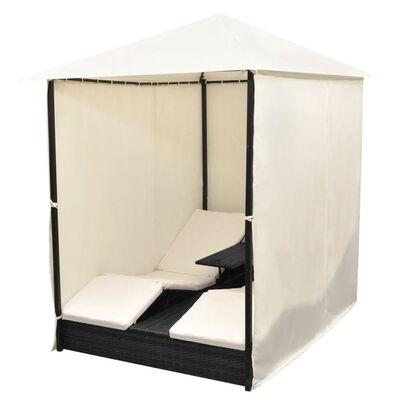 vidaXL Плажна шатра със завеси, полиратан, черна