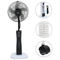 vidaXL Вентилатор с водна мъгла и дистанционно, черно и бяло