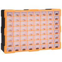 vidaXL Шкаф органайзер с 64 чекмеджета, 52x16x37,5 см