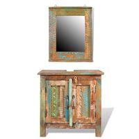 Комплект за баня от регенерирано дърво – шкаф за мивка и огледало