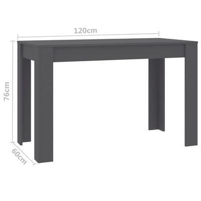 vidaXL Трапезна маса, сива, 120x60x76 см, ПДЧ