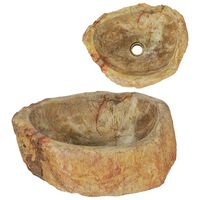 vidaXL Мивка, 45x35x15 см, фосил камък, кремава