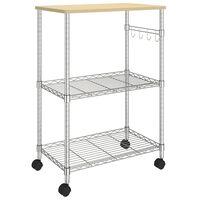 vidaXL Кухненска количка на 3 нива, 61x36x85 см, хромирано желязо