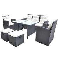 vidaXL Градински комплект с възглавници, 6 части, полиратан, черен